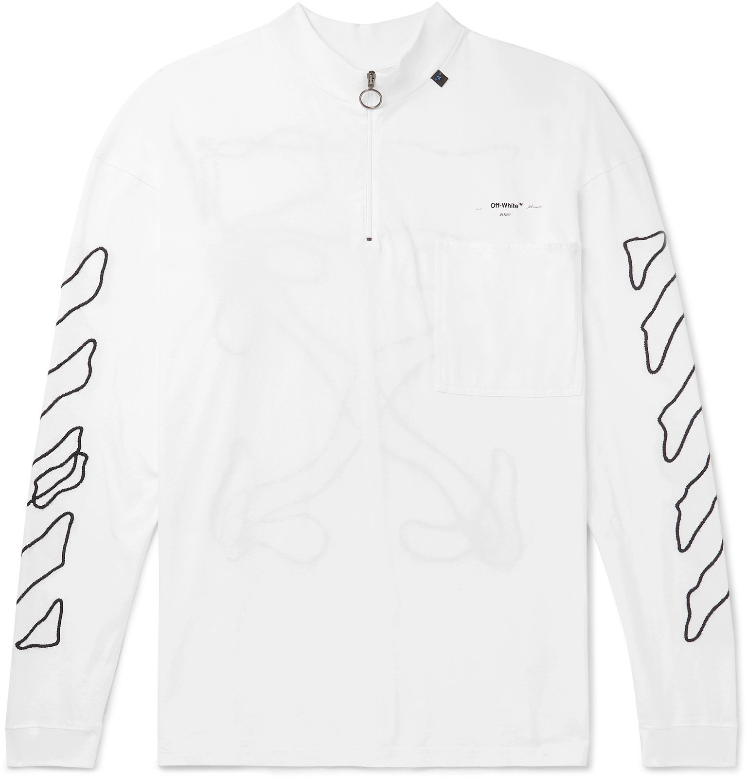 Photo: Off-White - Embroidered Cotton-Jersey Mock-Neck T-Shirt - White