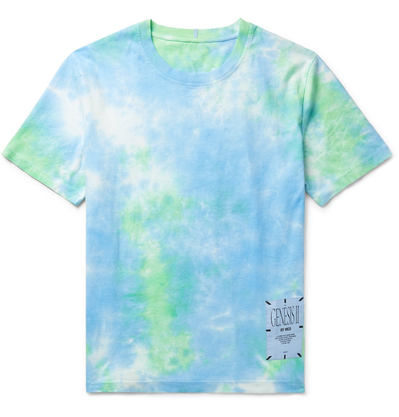 Photo: MCQ - Unity Appliquéd Tie-Dyed Cotton-Jersey T-Shirt - Blue