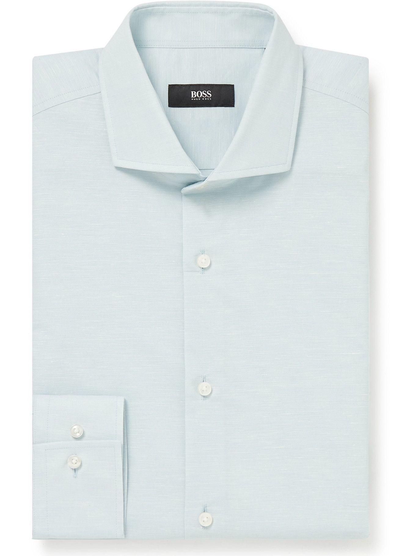 HUGO BOSS - Jason Slim-Fit Cutaway-Collar Cotton and Hemp-Blend Shirt - Blue