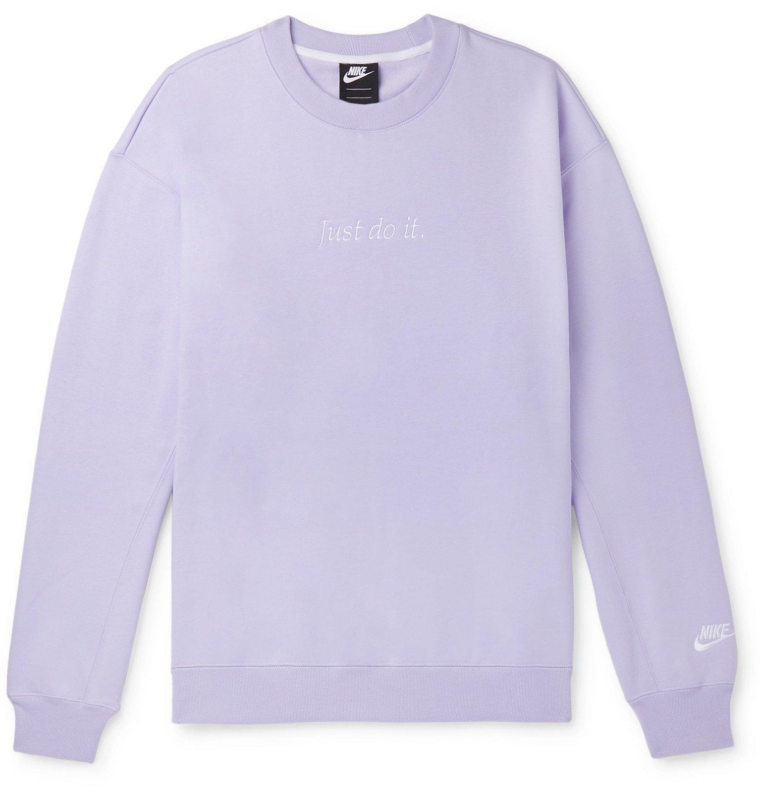 Photo: Nike - Sportswear Logo-Embroidered Fleece-Back Cotton-Blend Jersey Sweatshirt - Purple