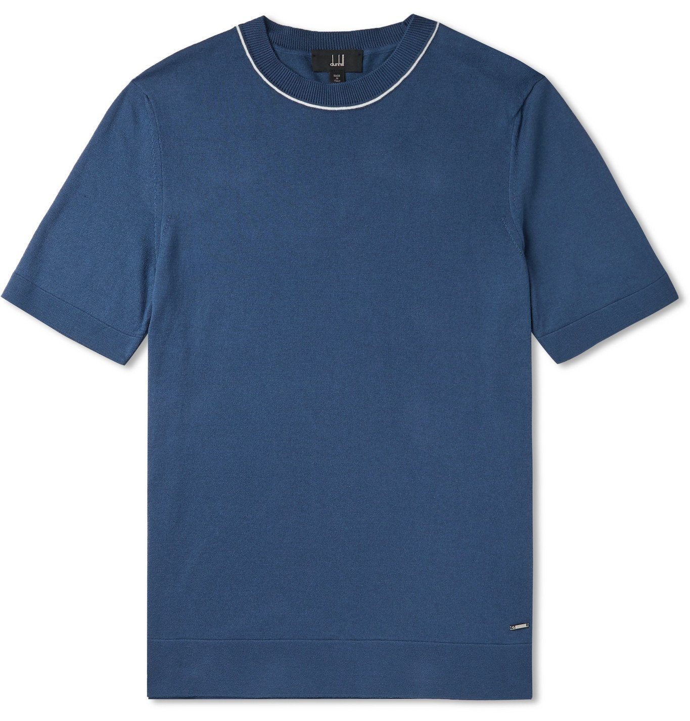 Dunhill - Contrast-Tipped Cotton T-Shirt - Blue