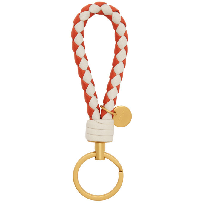 Photo: Bottega Veneta Beige and Red Intrecciato Loop Keychain