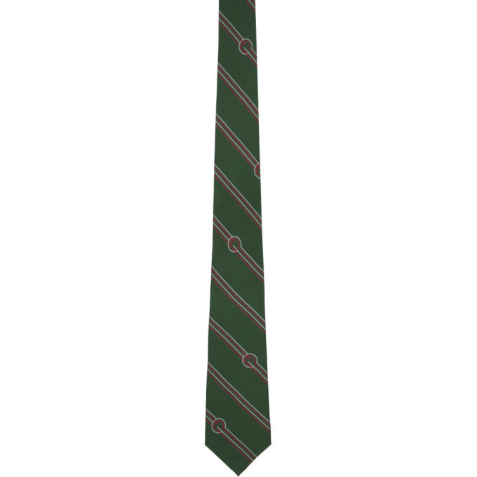 Photo: Gucci Green Silk Diagonal Stripes and G Tie