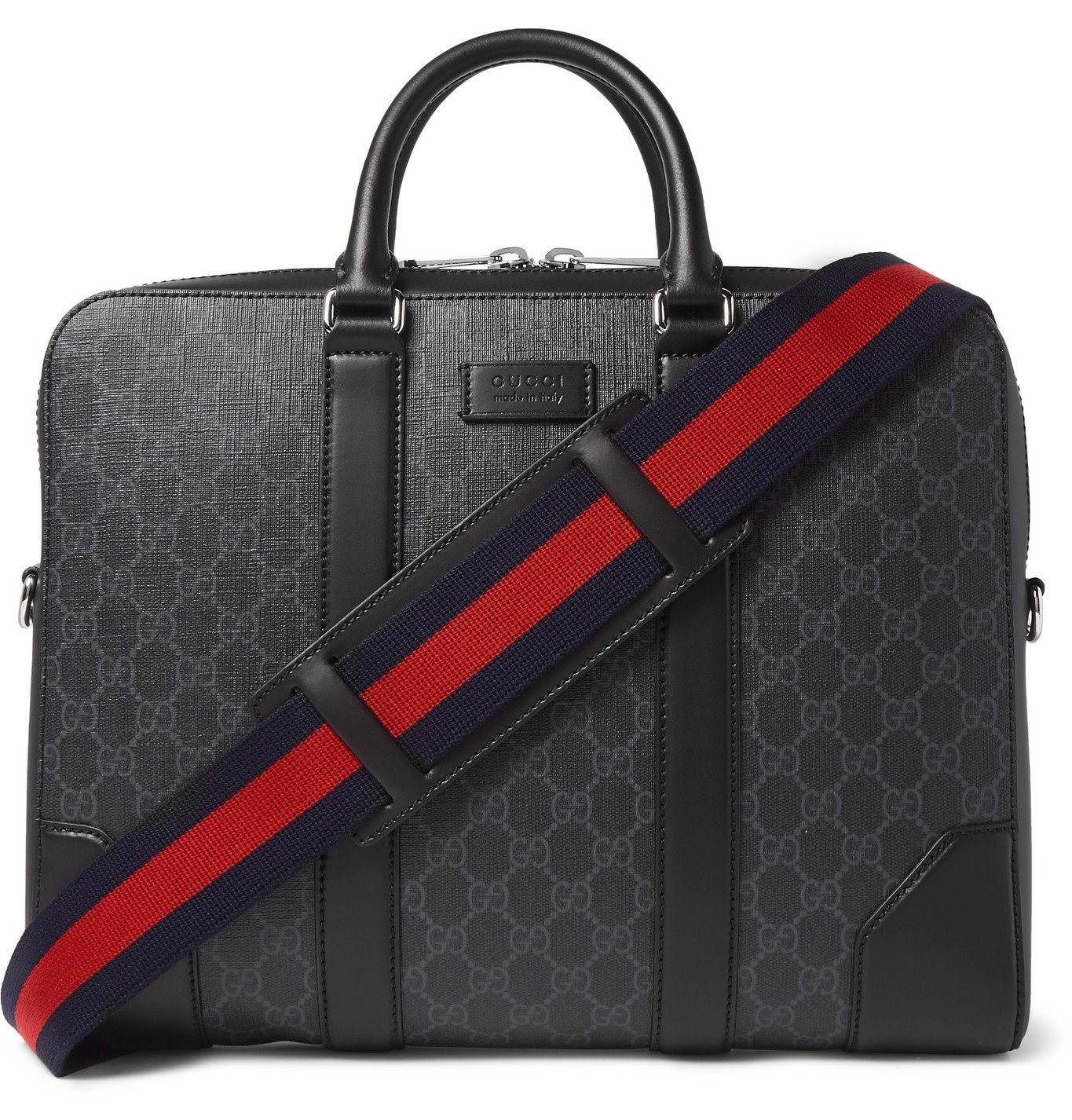 Photo: Gucci - Leather-Trimmed Monogrammed Coated-Canvas Briefcase - Black