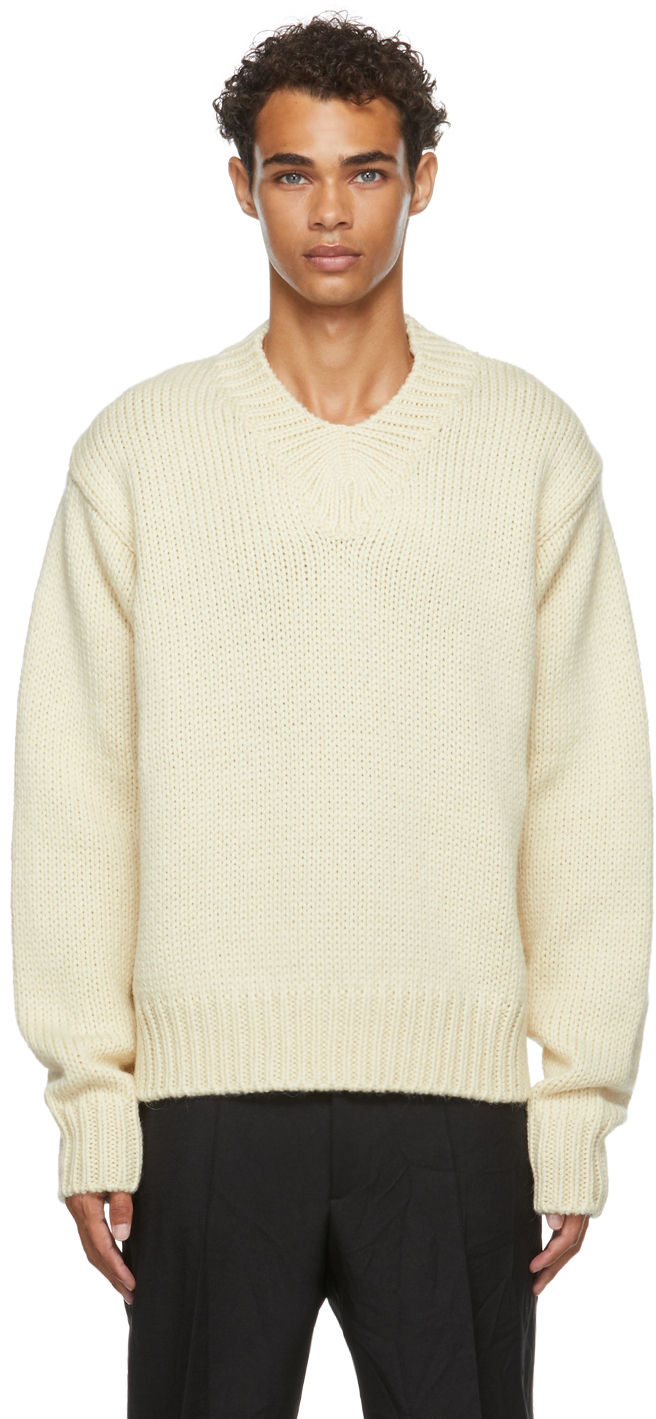Photo: Jil Sander Off-White Wool V-Neck Sweater