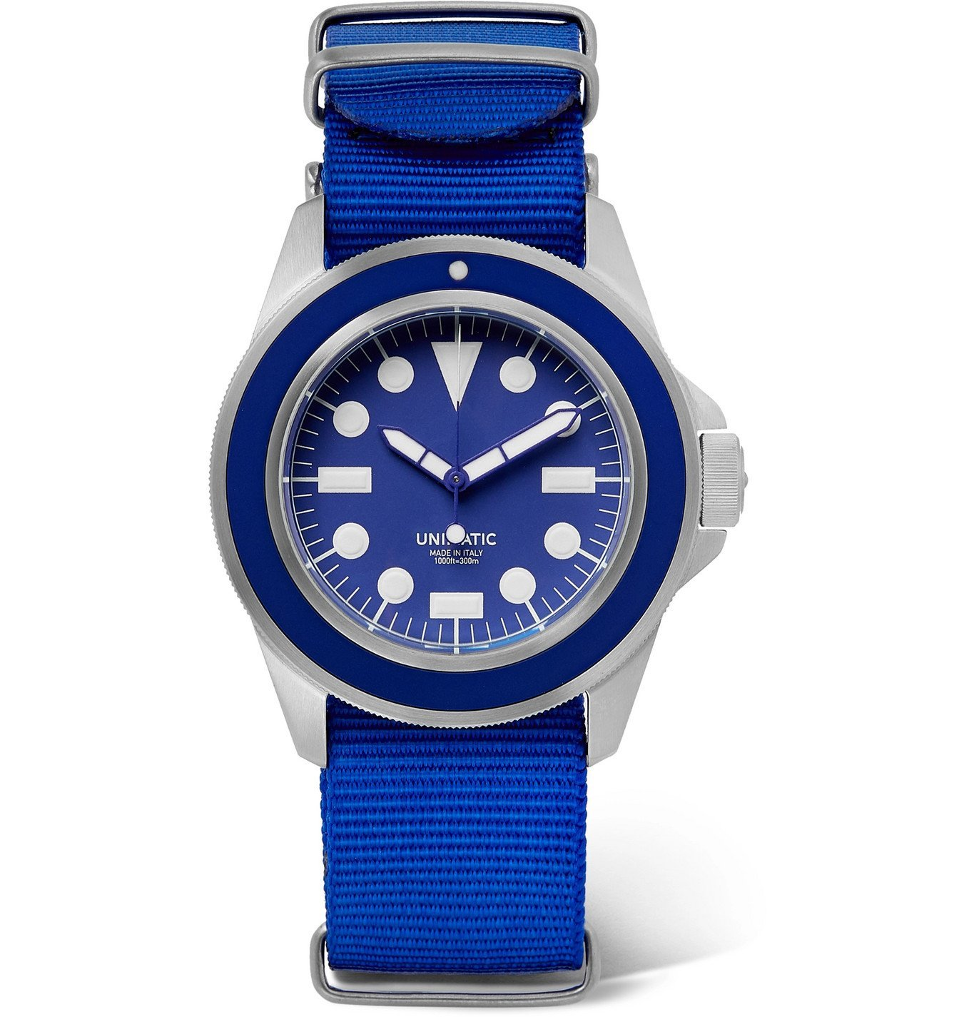 Photo: UNIMATIC - U1 Automatic Brushed Stainless Steel and Webbing Watch - Blue