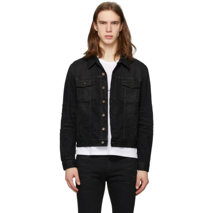 Photo: Saint Laurent Black Coated Classic Denim Jacket