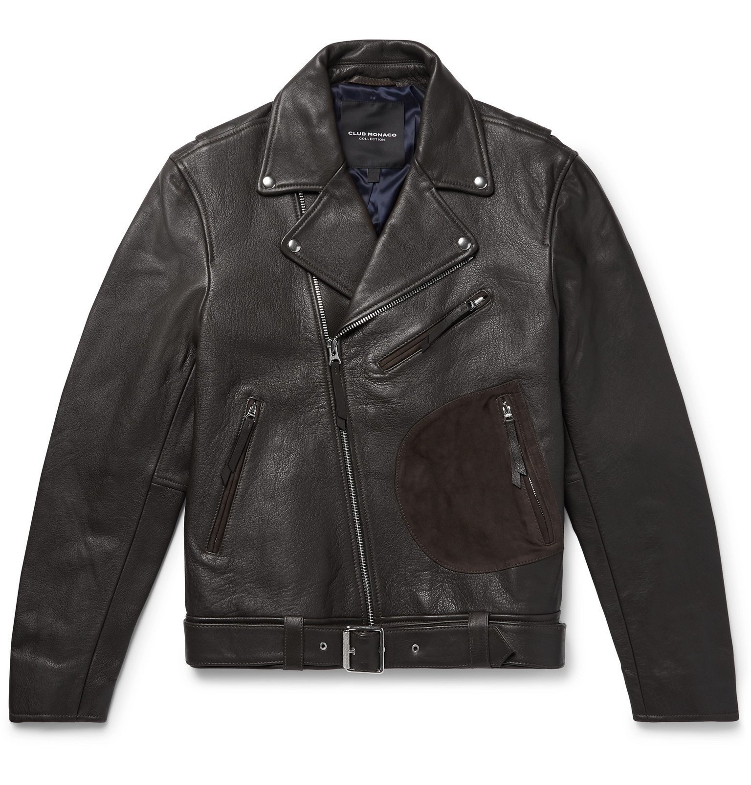 Photo: Club Monaco - Suede-Trimmed Leather Biker Jacket - Brown