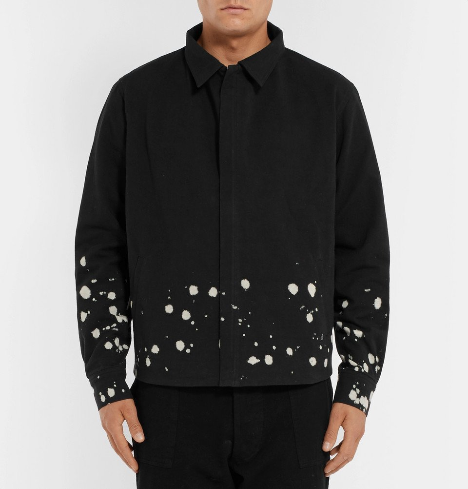 The Elder Statesman - Bleach-Splattered Cotton-Canvas Jacket - Black
