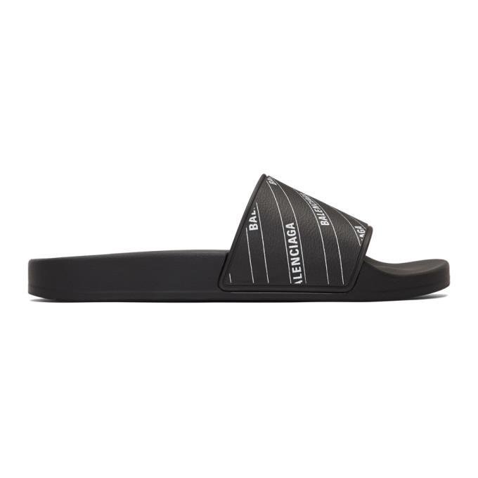 Photo: Balenciaga Black and White Stripe Logo Piscine Slides