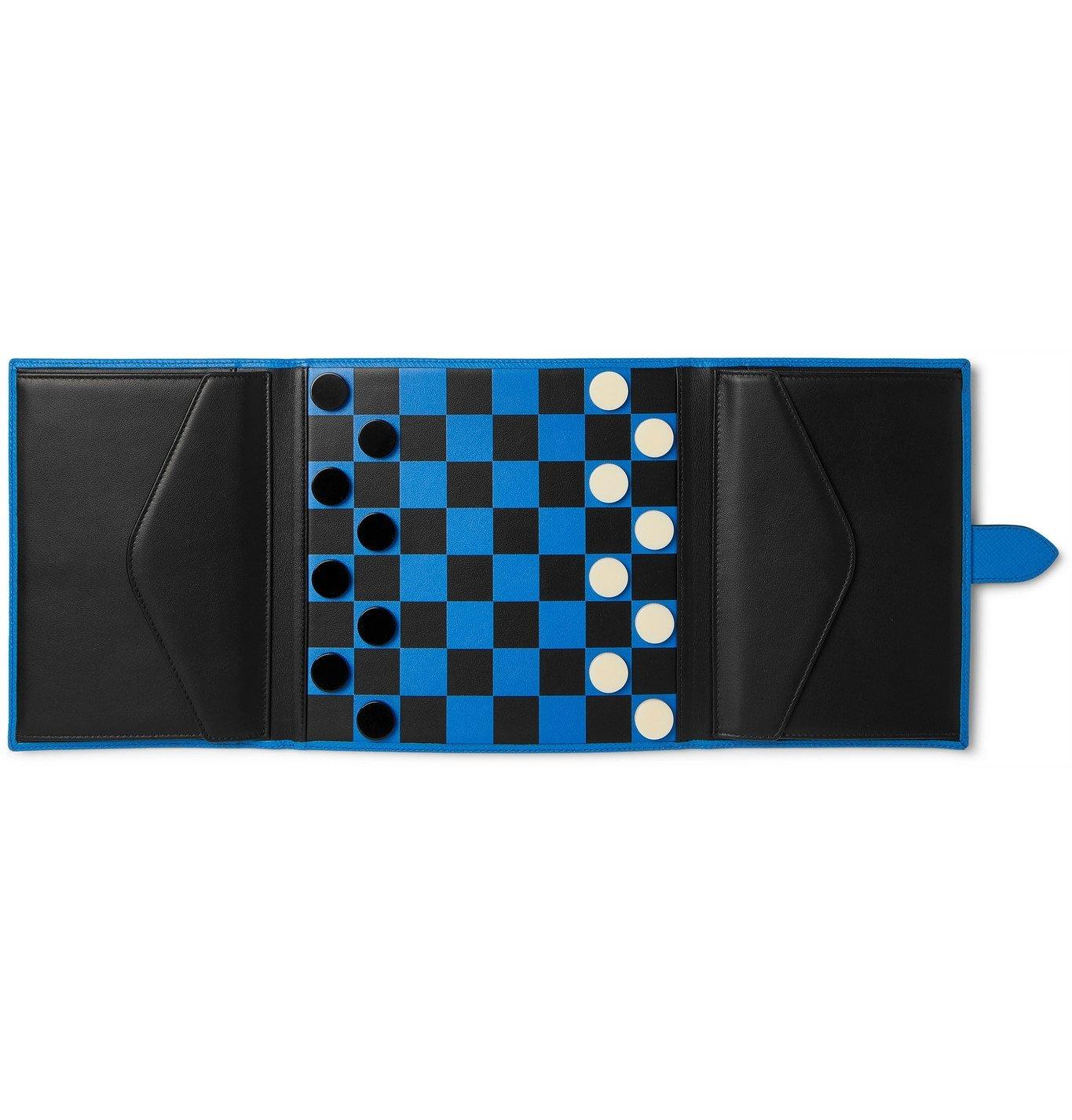 Photo: Smythson - Panama Cross-Grain Leather Checkers Set - Blue