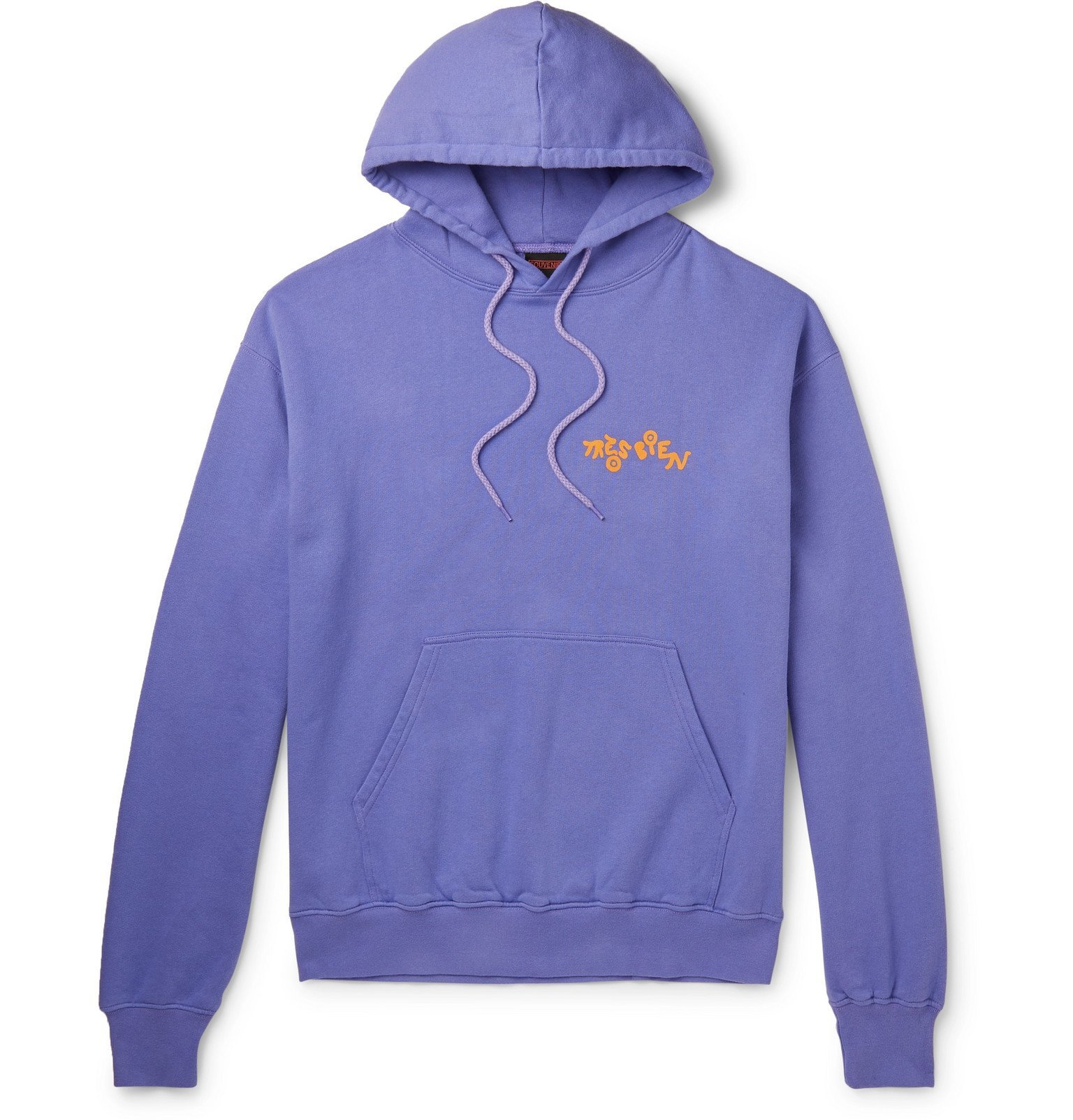 Photo: Très Bien - Souvenir Logo-Print Fleece-Back Cotton-Jersey Hoodie - Purple