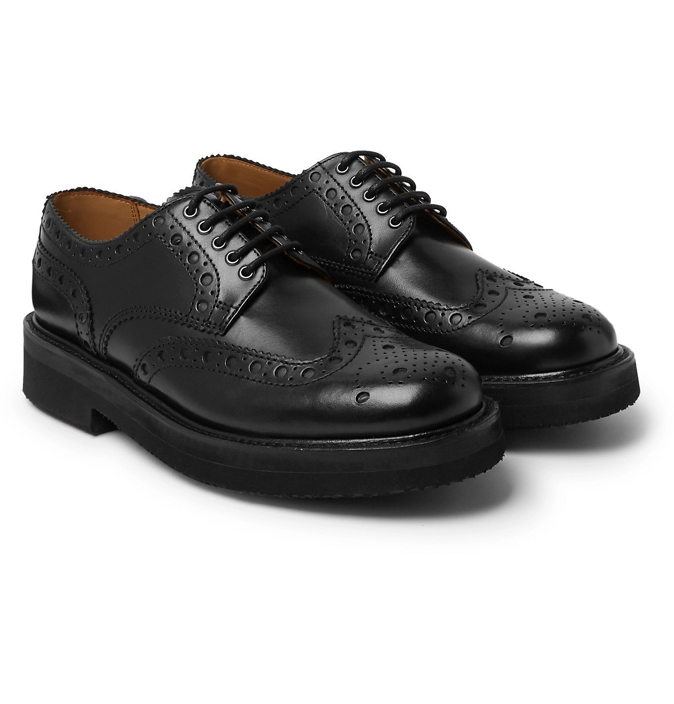 Photo: Grenson - Archie Leather Wingtip Brogues - Black