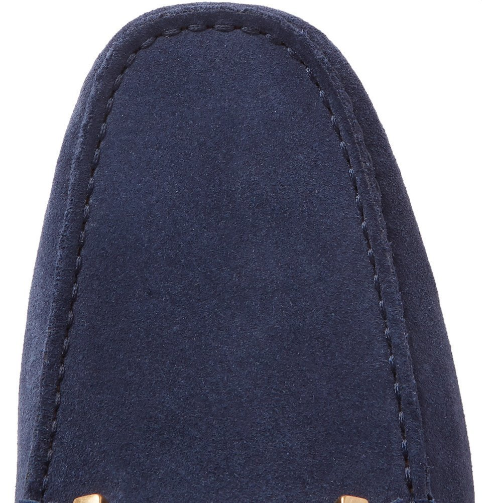 Tod's - Gommino Collapsible-Heel Nubuck and Leather Driving Shoes - Navy