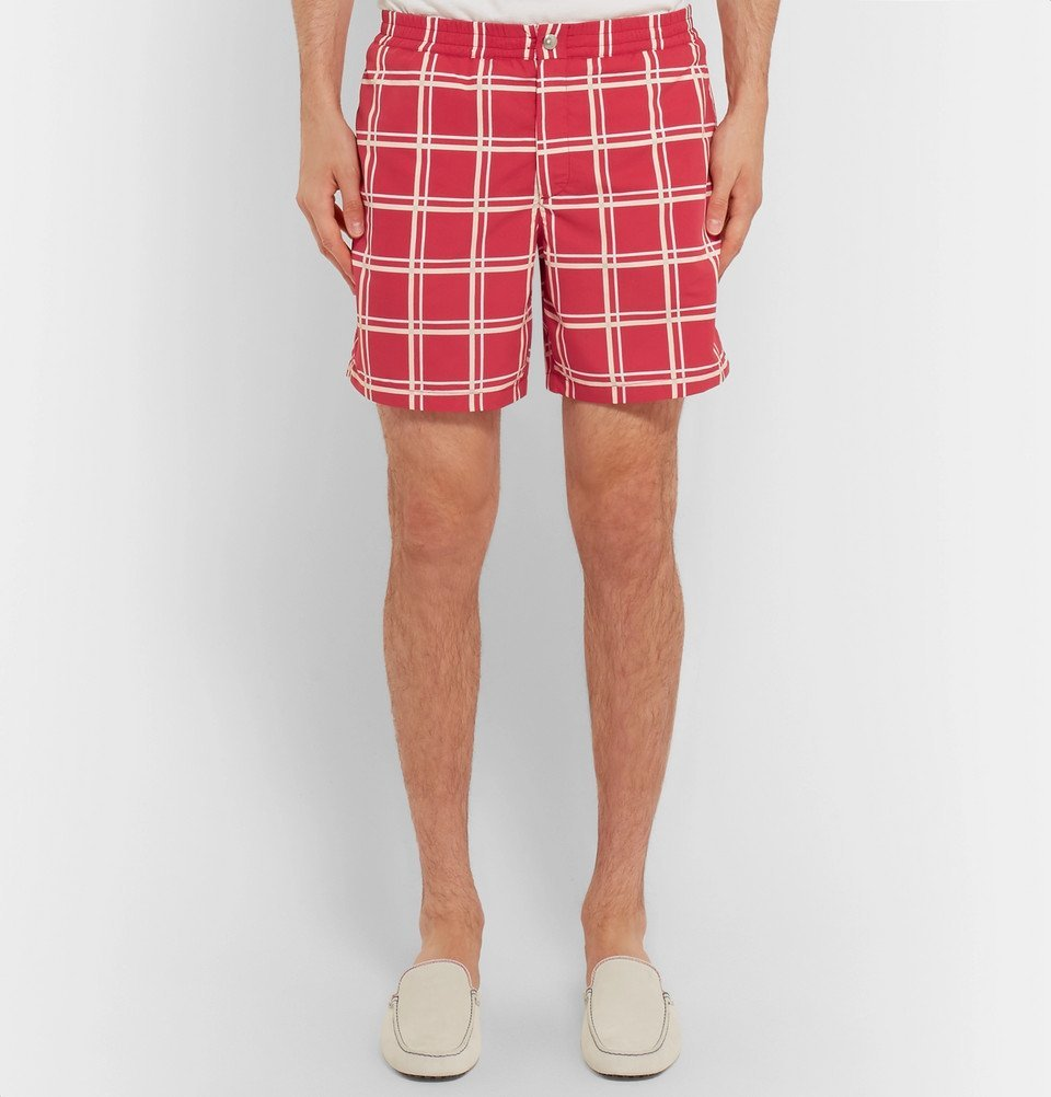 Tod's - Short-Length Checked Swim Shorts - Men - Red