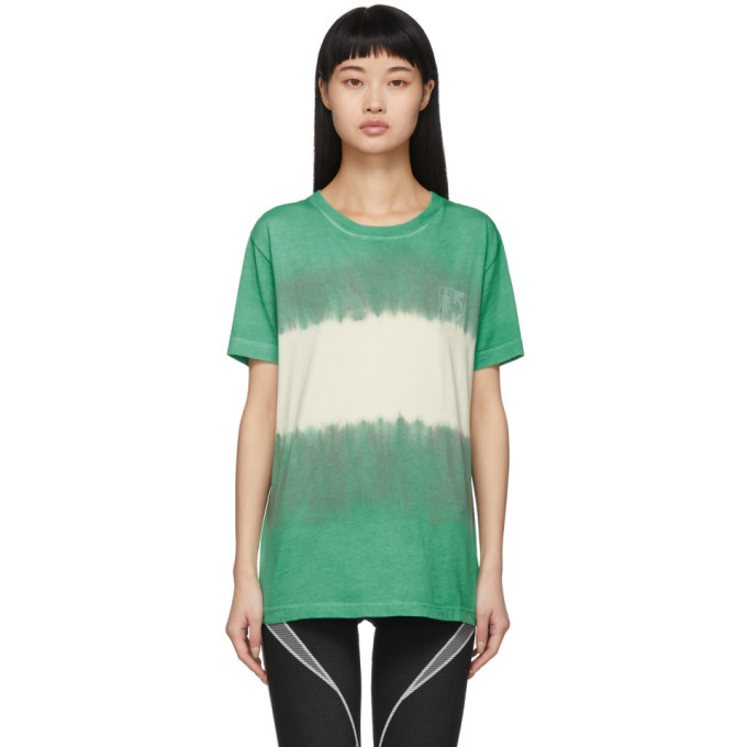 Photo: Off-White Green and White Tie-Dye Skinny Arrows T-Shirt