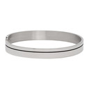 Giorgio Armani Silver Enamel Stripe Cuff Bracelet