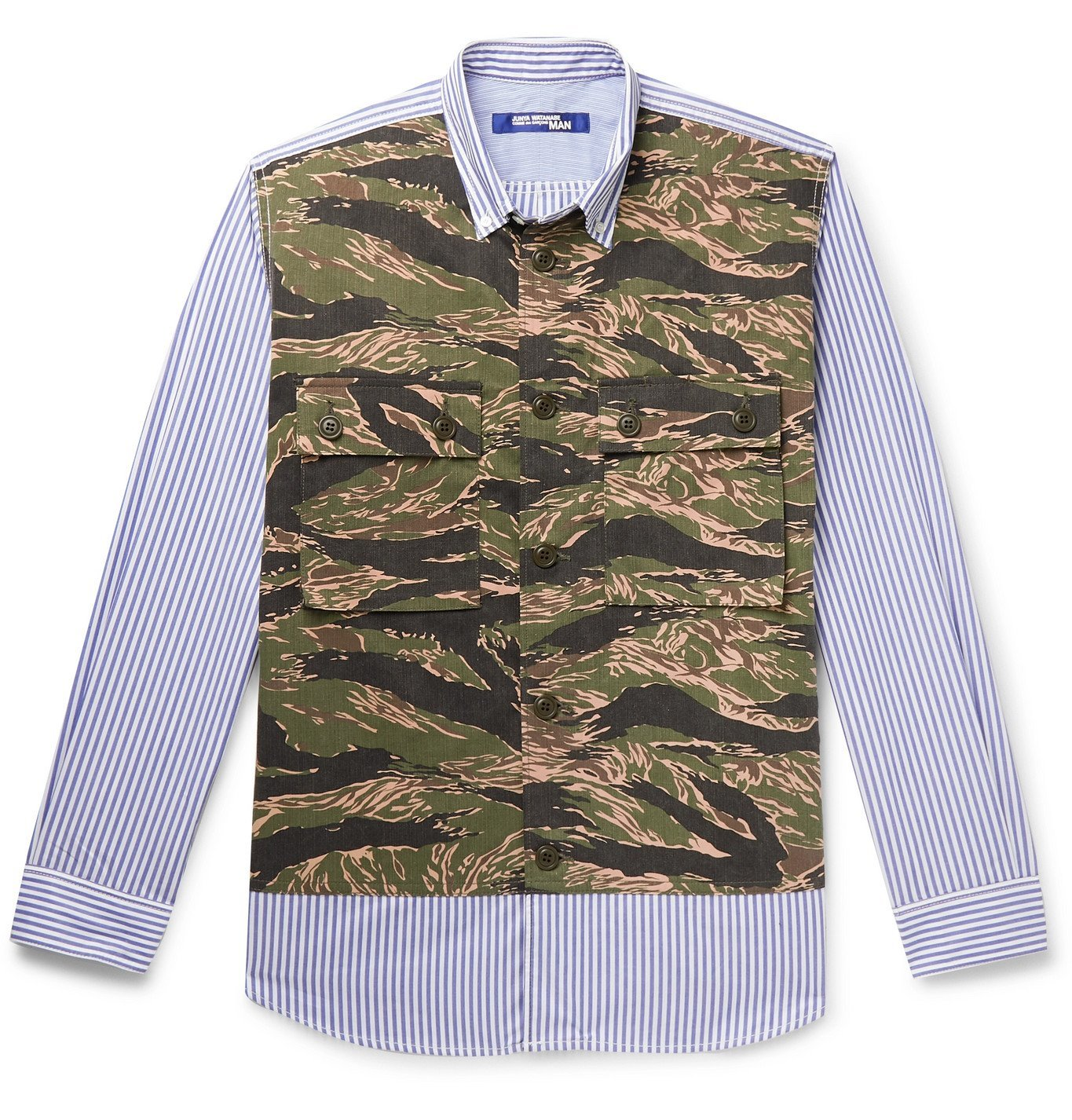 Photo: Junya Watanabe - Button-Down Collar Panelled Camouflage and Striped Cotton Shirt - Green