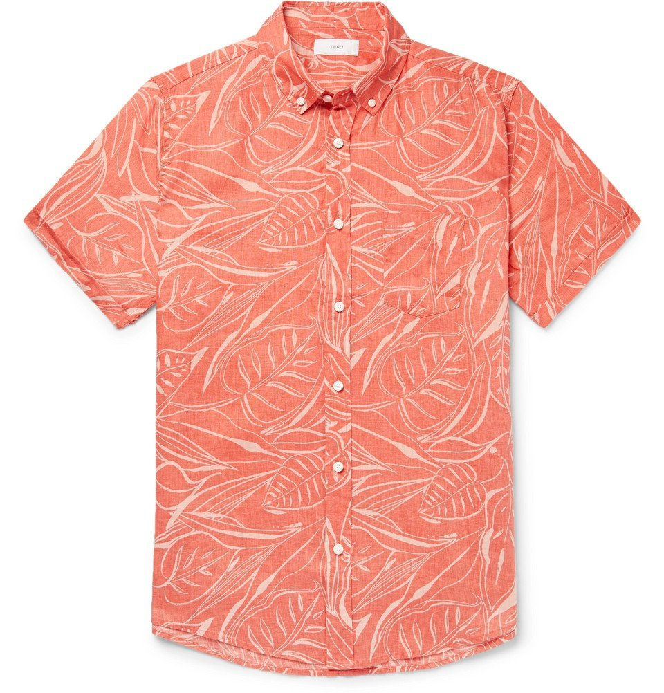 Photo: Onia - Jack Button-Down Collar Printed Slub Linen Shirt - Men - Coral