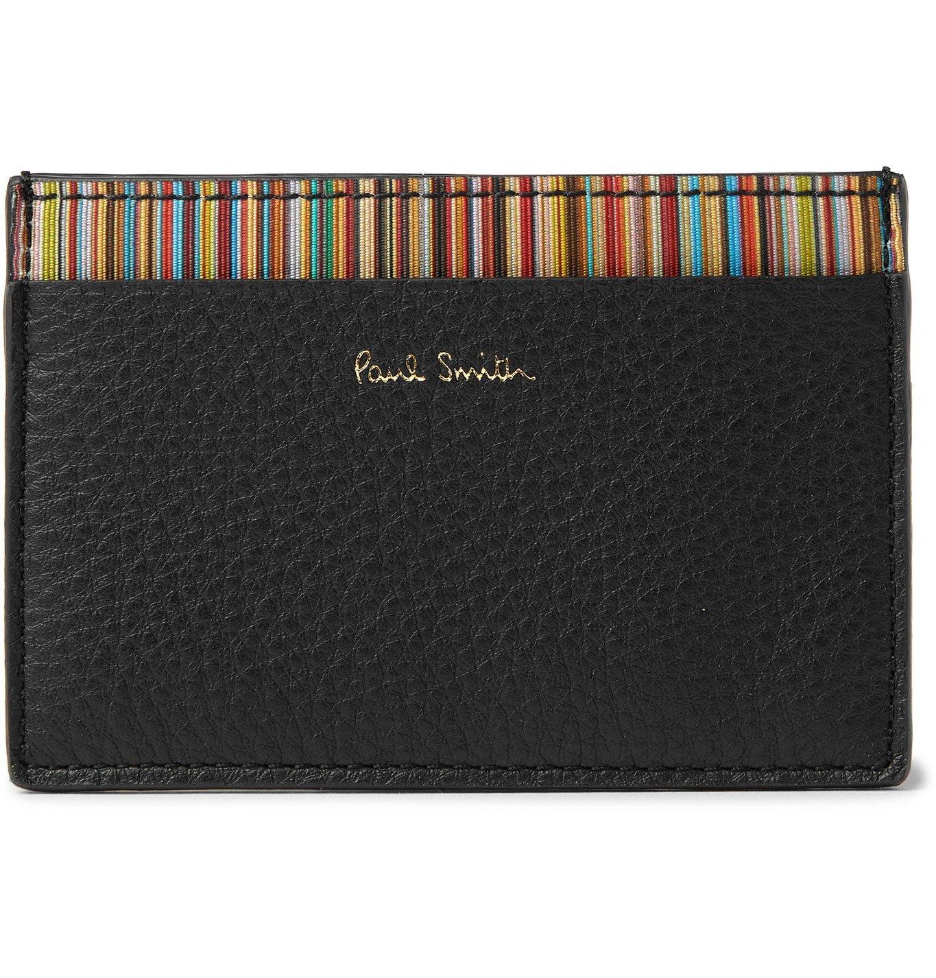 Photo: PAUL SMITH - Stripe-Trimmed Pebble-Grain Leather Cardholder - Black