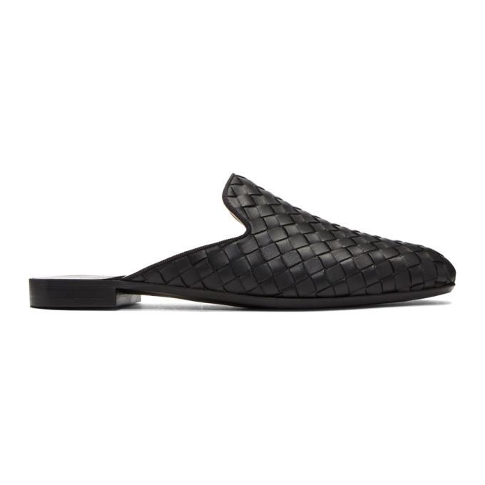 Photo: Bottega Veneta Black Intrecciato Slippers