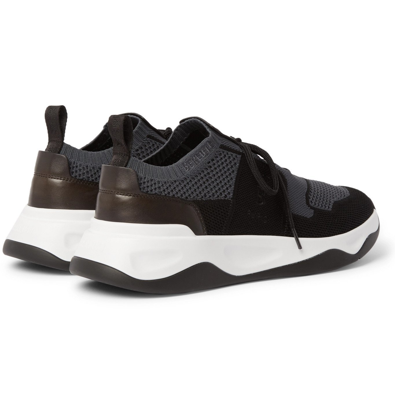 Berluti - Shadow Leather-Trimmed Stretch-Knit Sneakers - Gray