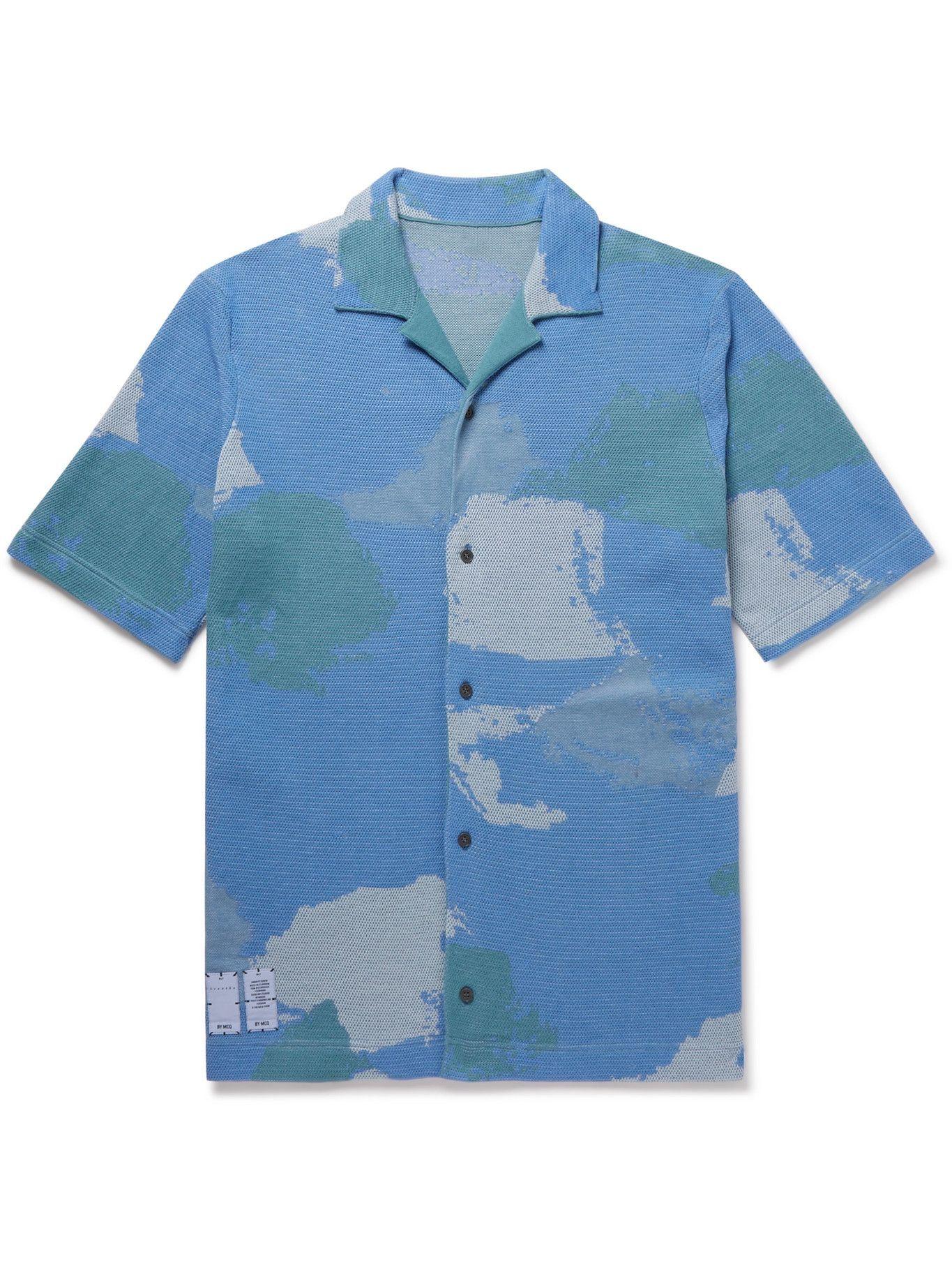 MCQ - Breathe Camp-Collar Intarsia-Knit Cotton-Blend Shirt - Blue