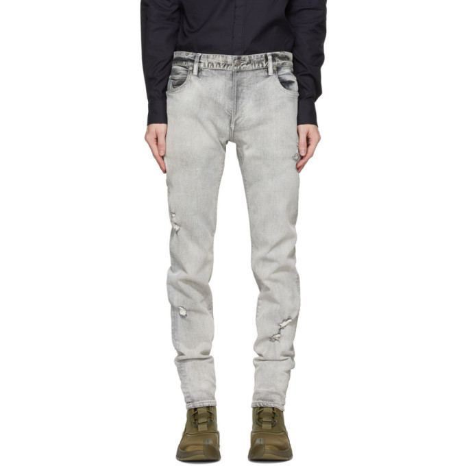 Photo: Balmain Grey Slim Six-Pocket Jeans