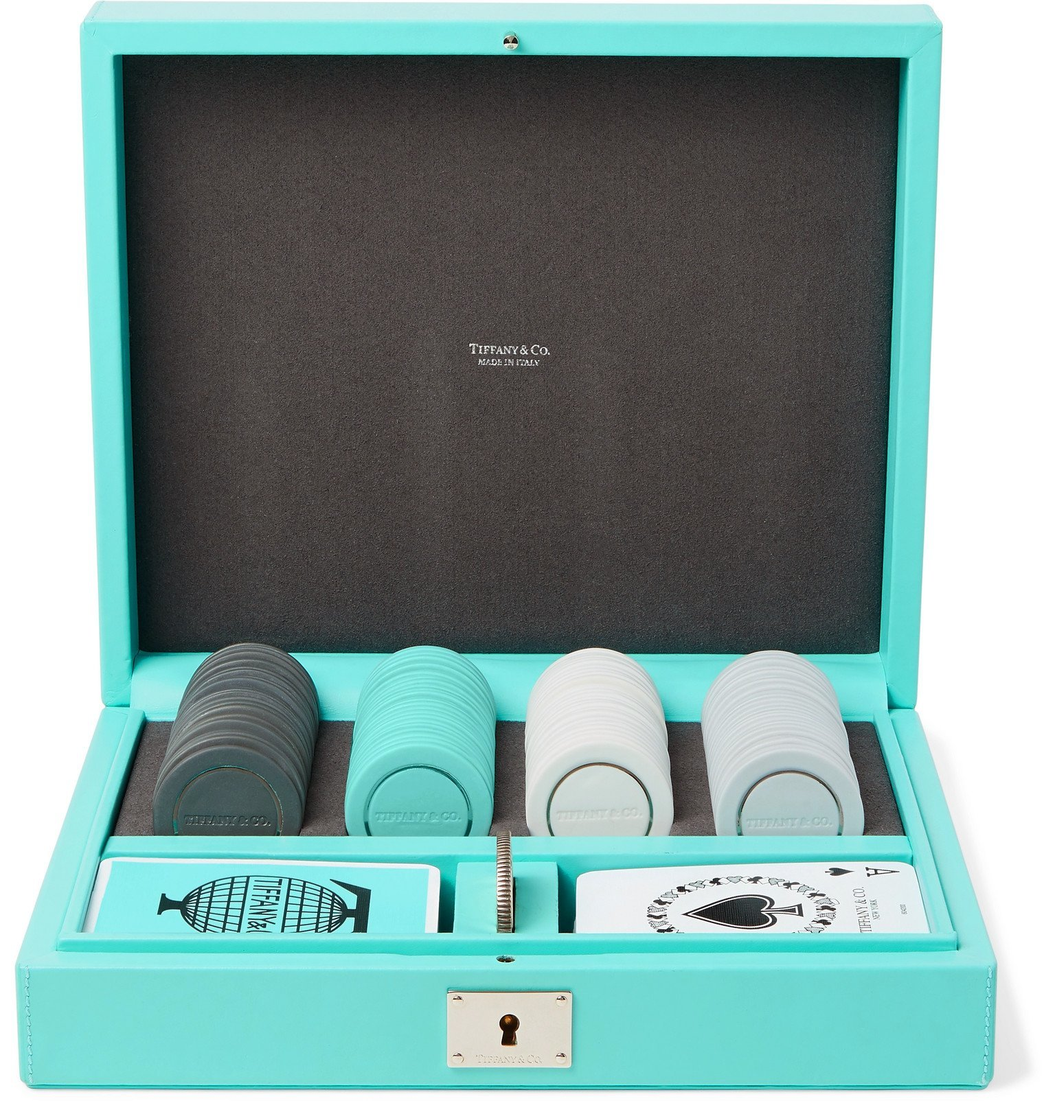 Photo: Tiffany & Co. - Everyday Objects Sterling Silver, Porcelain and Leather Poker Set - Blue