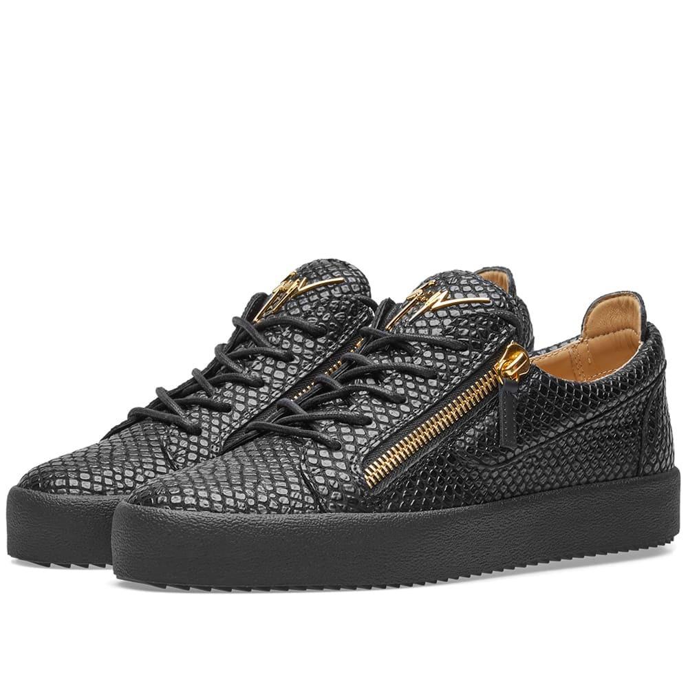 Photo: Giuseppe Zanotti Double Zip Python Leather Low Sneaker Black