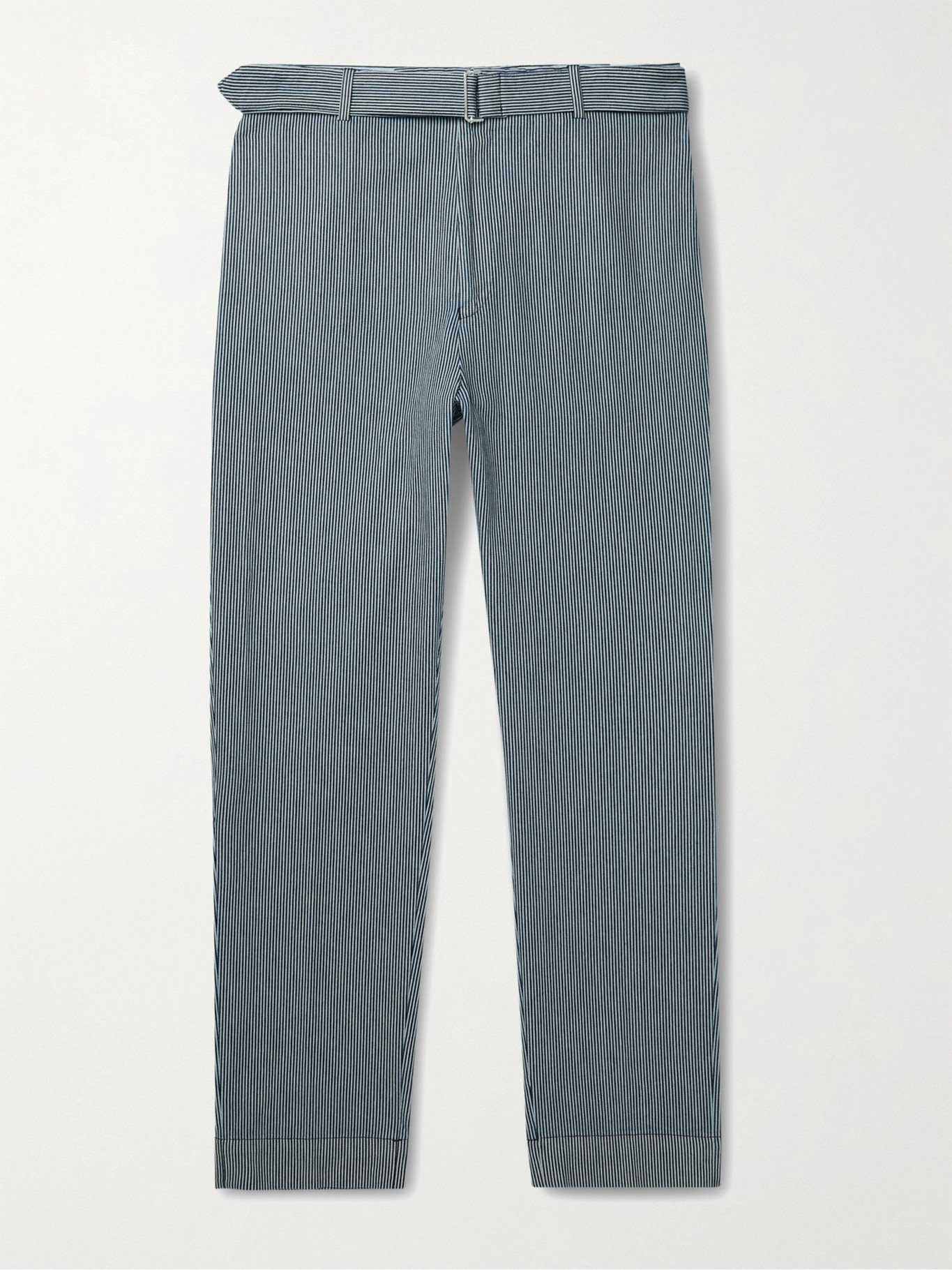 Photo: OFFICINE GÉNÉRALE - Owen Tapered Belted Striped Denim Chinos - Blue