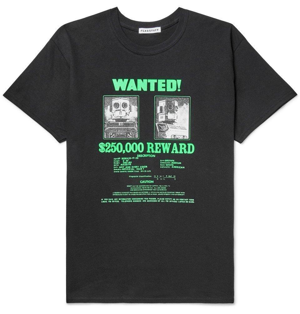 Photo: Flagstuff - Printed Cotton-Jersey T-Shirt - Black