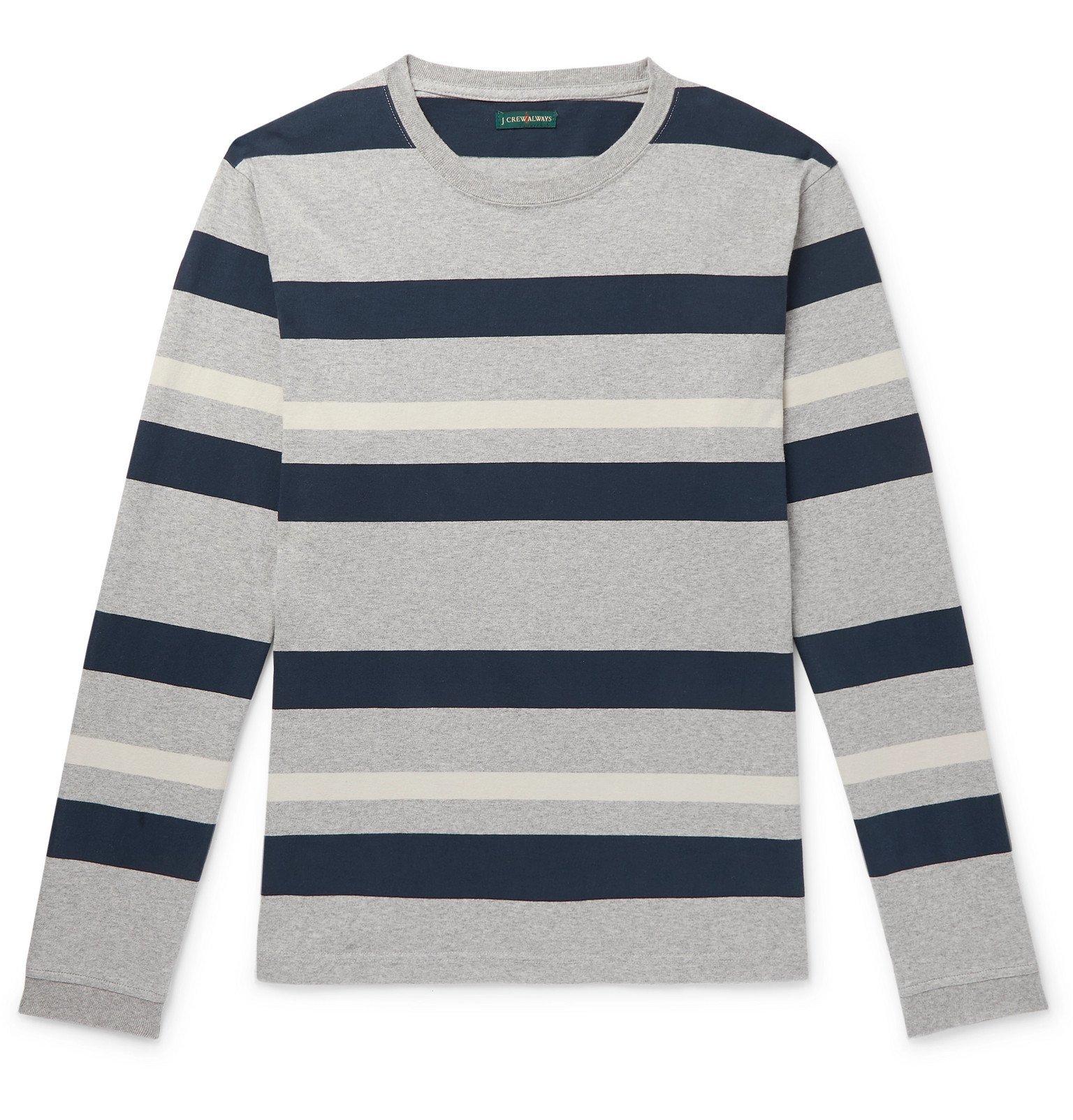Photo: J.Crew - 1994 Striped Mélange Cotton-Jersey T-Shirt - Gray