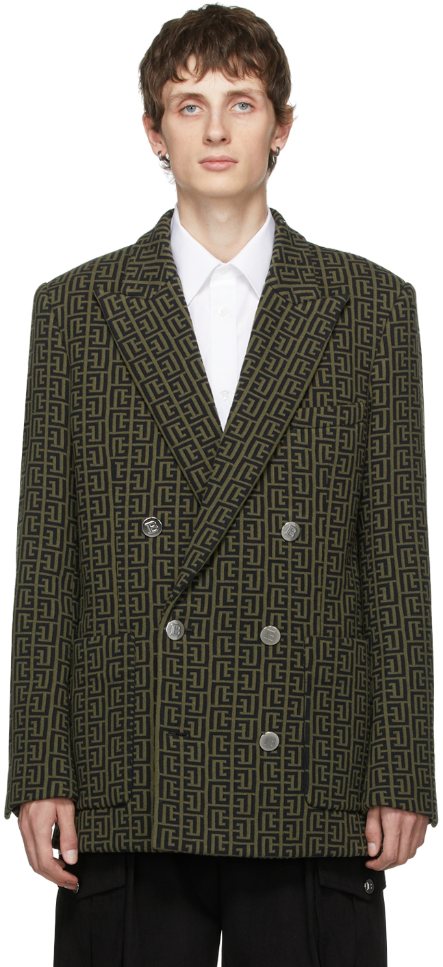 Photo: Balmain Double-Breasted Jersey Monogram Blazer