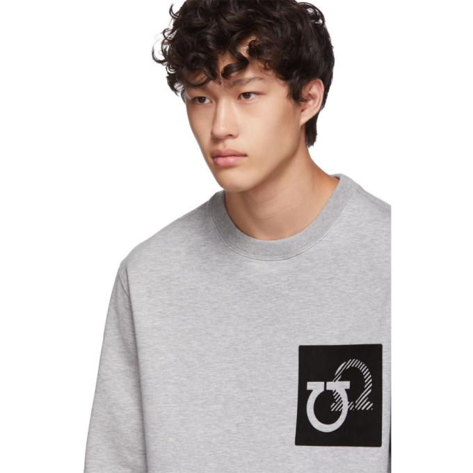 Salvatore Ferragamo Grey Gancini Patch Sweatshirt