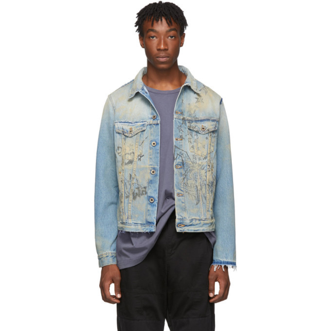 Photo: Off-White Blue Wizard Slim Denim Jacket