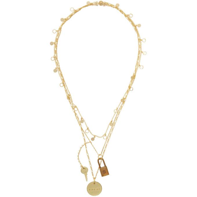 Sacai Gold Multi-Layered Lock Pendant Necklace