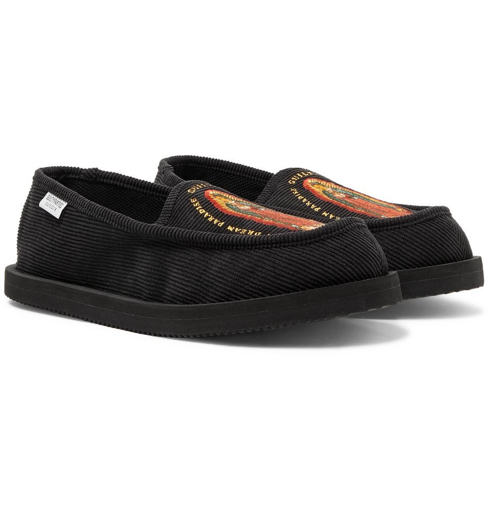 Photo: Wacko Maria - Suicoke Deebo Embroidered Cotton-Blend Corduroy Loafers - Black