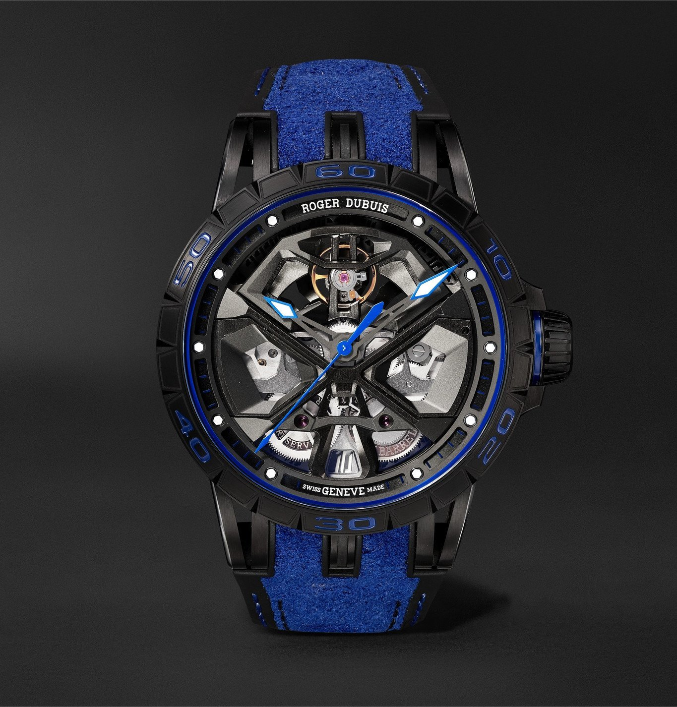 Photo: Roger Dubuis - Excalibur Huracán Automatic Skeleton 45mm Titanium and Rubber Watch, Ref. No. RDDBEX0749 - Black