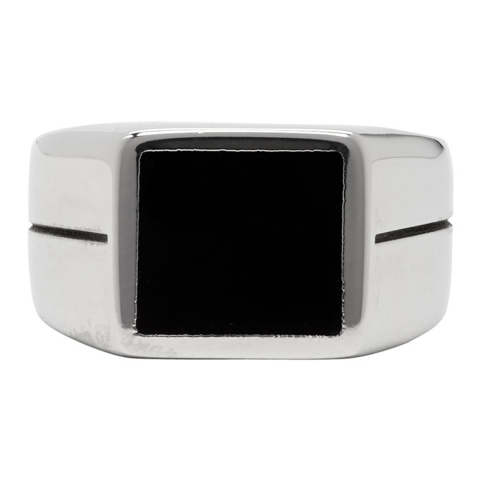 Photo: Givenchy Silver and Black Logo Signet Ring