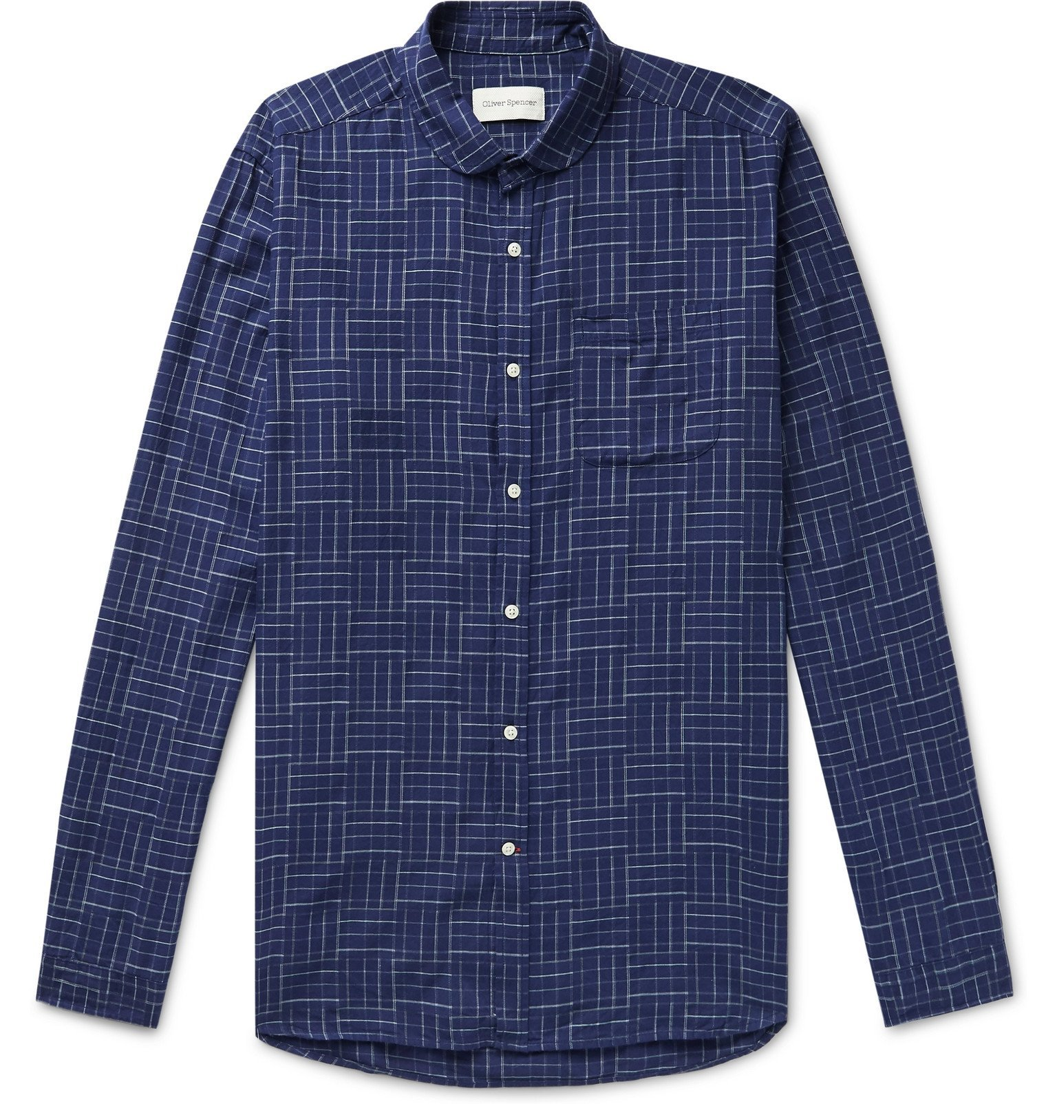 Photo: Oliver Spencer - Eton Penny-Collar Checked Cotton Shirt - Blue