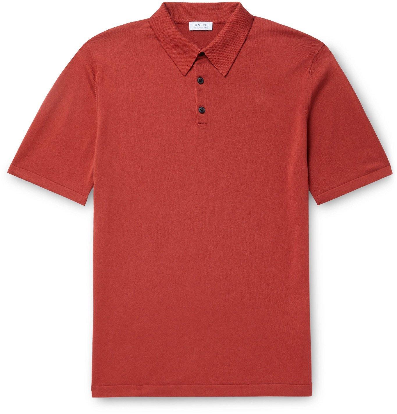 Photo: Sunspel - Slim-Fit Sea Island Cotton Polo Shirt - Red
