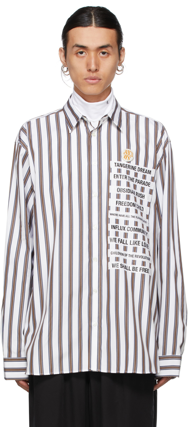 Photo: Raf Simons White Stripe Patched Boxy Shirt