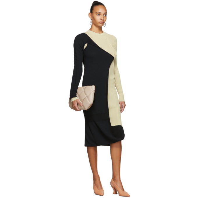 Bottega Veneta Black and Beige Mohair Dress