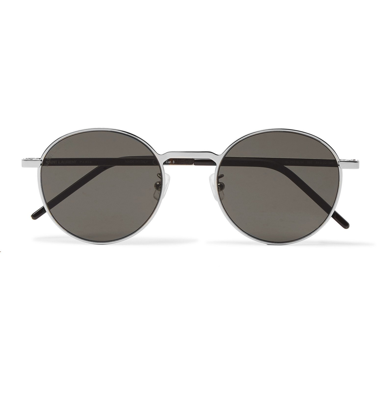 Photo: SAINT LAURENT - Round-Frame Silver-Tone Metal Sunglasses - Silver