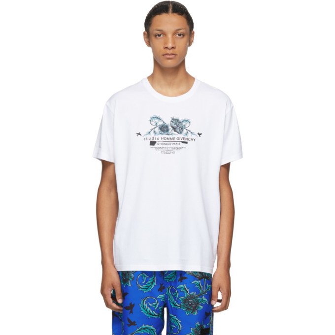 Photo: Givenchy White Floral Studio Homme T-Shirt