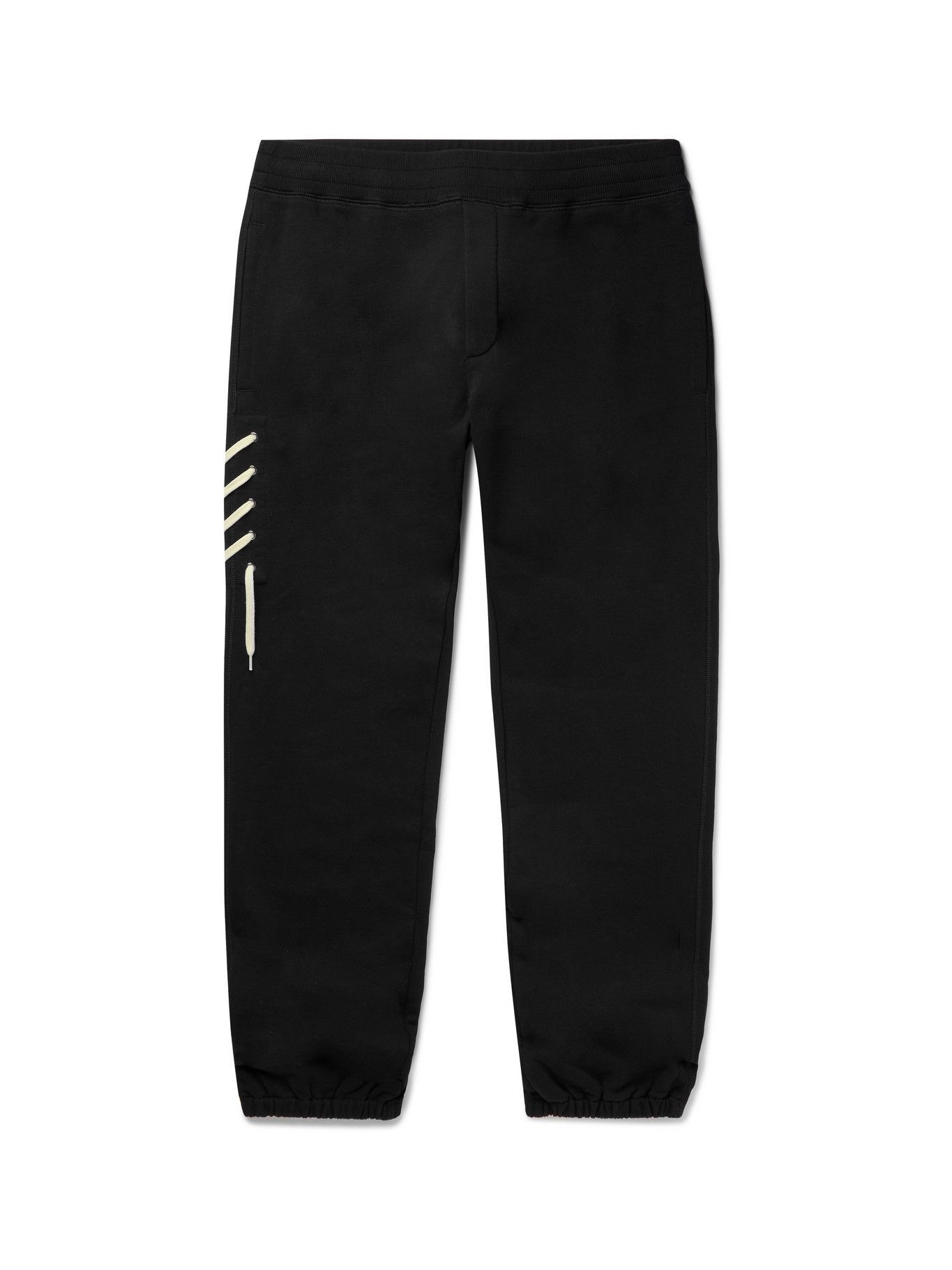 Photo: CRAIG GREEN - Tapered Lace-Detailed Cotton-Jersey Sweatpants - Black