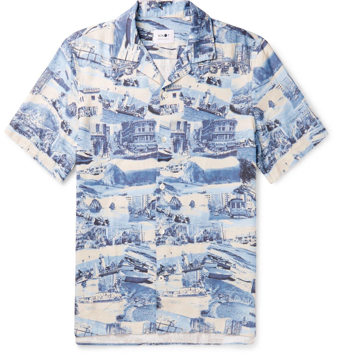 Photo: NN07 - Miyagi Camp-Collar Printed Tencel and Linen-Blend Shirt - Blue