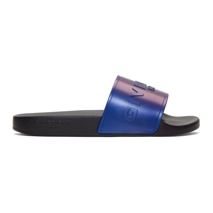 Photo: Givenchy Black and Blue Flat Slide Pool Slides