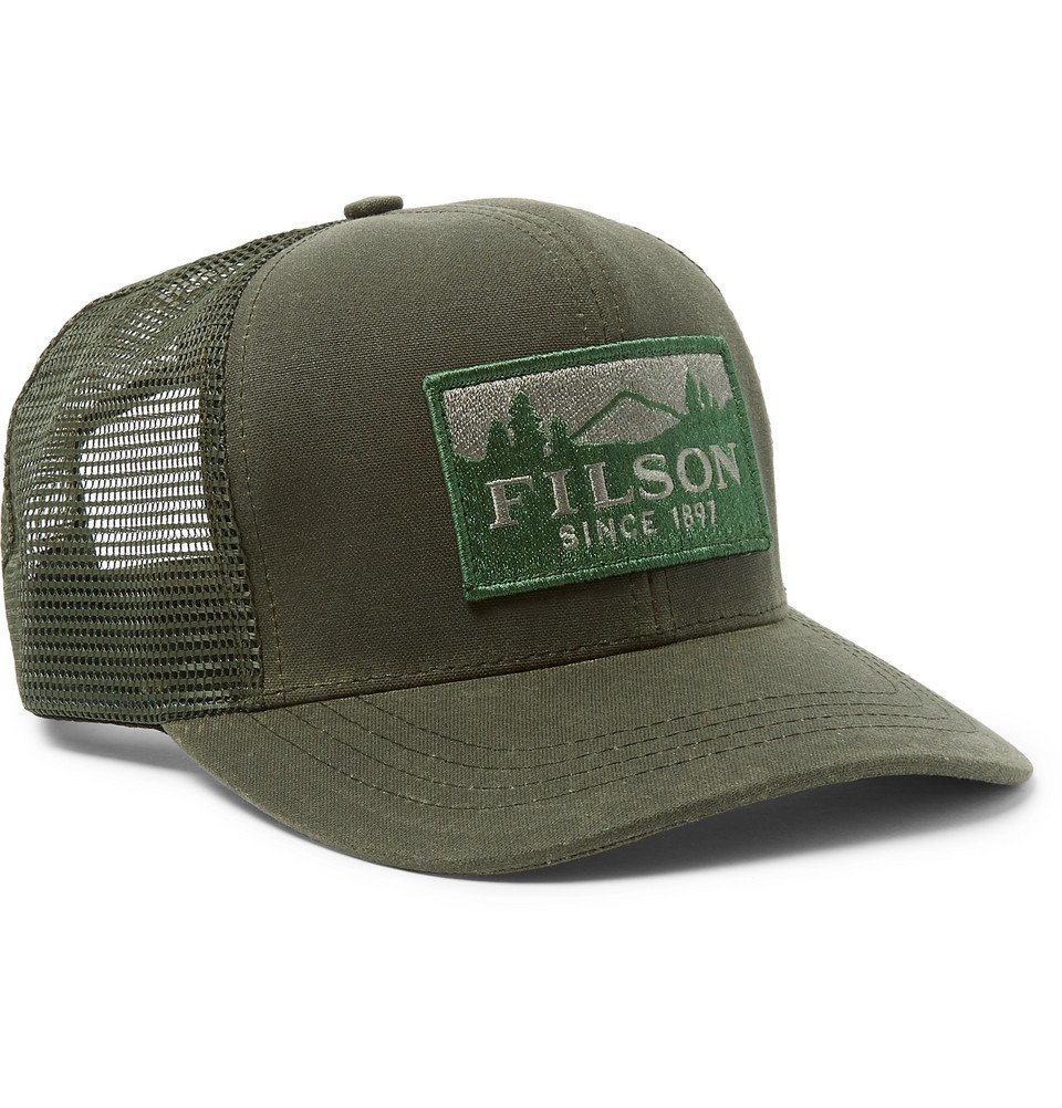 Photo: Filson - Logger Logo-Appliquéd Cotton-Twill and Mesh Baseball Cap - Green